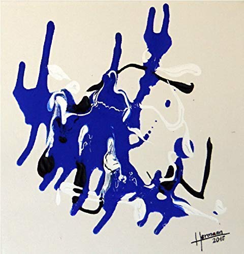 "AtelierHermann | Acrylbild | Kunst abstrakt 30 x 30 cm | ""Figurentheater"" | Gemälde mit Keilrahmen | Acryl auf Leinwand | Fertig zum Aufhängen"