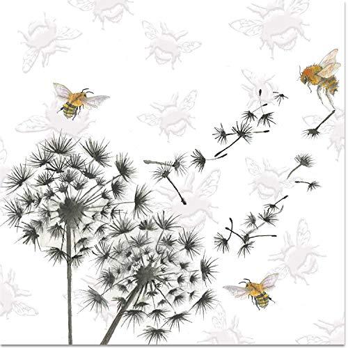 Grußkarte mit Pusteblumen-Uhr und Bienen, Wildblumen, innen blanko, Aquarell-Kunstwerk, geprägte Karte