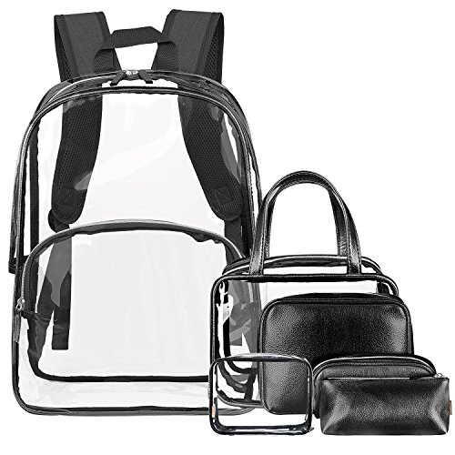 BRINCH 6 in 1 Clear Backpack with Cosmetic Bag & Case, Transparent PVC School Backpack Outdoor Bookbag Casual Daypack Portable Travel Toiletry Bag Makeup Quart Luggage Organiser, Black