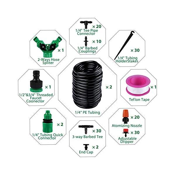 Sistema de riego de jardín, Emooqi 149 Pcs Goteros para Equipos de Riego Automático, Accesorios para Riego por Goteo…