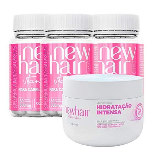 New Hair Caps 90 dias e Mascara Hidratante Capilar