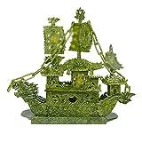 KGDC Escultura Ornamentos Dragón Barco Escultura Feng Shui estatuas Decoraciones decoración de Oficina hogar Feng Shui Decoraciones Verde Jade Decoración del Escritorio
