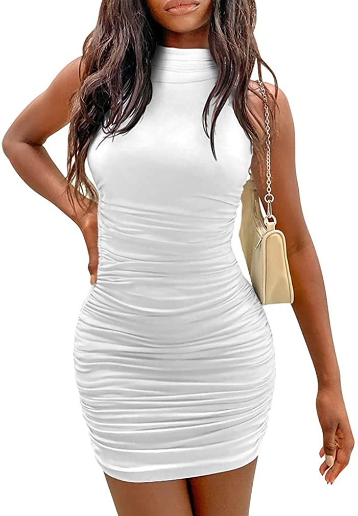 YMDUCH Free shipping on posting reviews Women's Sexy Stretchy Bodyco Max 57% OFF Sleeveless Ruched Turtleneck