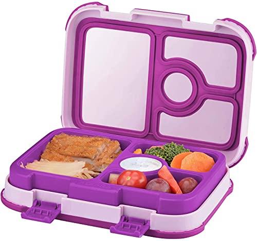 Fiambrera para niños a prueba de fugas, caja de 4 compartimentos para niños, sin BPA, contenedor para almuerzo escolar para niños y niñas   Contenedores de embalaje para comida y aperitivos (plegable)