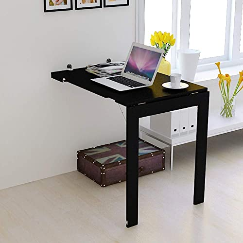 Table pliante ZB Style Européen Table Murale Simple Petit Appartement Tenture Murale Bureau Ordinateur Bureau Bureau Table Murale Table Créative A+ (Couleur   Noir, Taille   60  90cm)