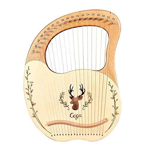 S SMAUTOP Harpe Lyre 19 cordes, harpe en acajou en bois massif avec sac de transport et symboles phonétiques sculptés, pour les amateurs de musique débutants