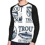Camiseta de Manga Larga para Pesca de Trucha, con Estampado de Colores Contrastantes Negro Negro (M