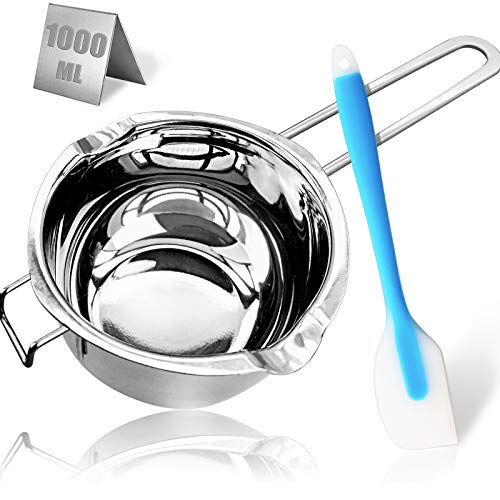 1000ML/1QT Double Boiler Chocolate Melting Pot,304 Stainless Steel Candle Making Kit, Melting Pot with Silicone Spatula for Melting Chocolate, Candy, Candle, Soap, Wax