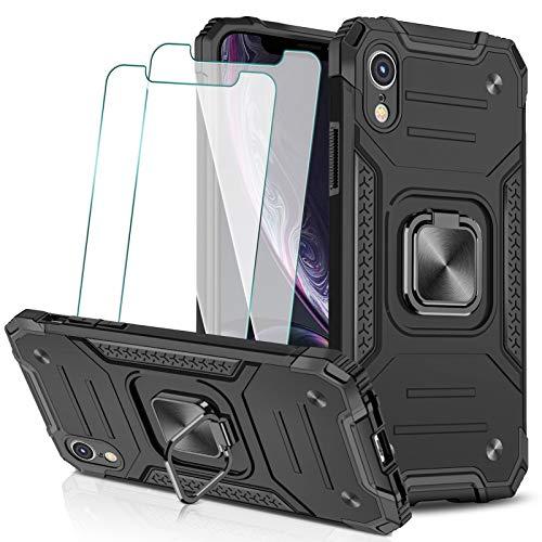 KEEPXYZ Funda para iPhone XR + 2 Pcs Protector de Pantalla Cristal Vidrio Templado, Hard PC y Negro Silicona TPU Bumper Antigolpes Case, 360 Grados Anillo iman Soporte para iPhone XR