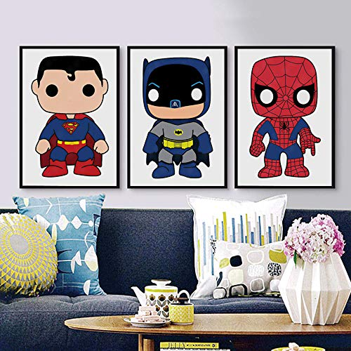 Henypt Kawaii Superhero Canvas Painting Abstract Cartoon Poster and Prints niños decoración de la habitación Arte de la Pared picture-60 * 80 * 3 con Marco