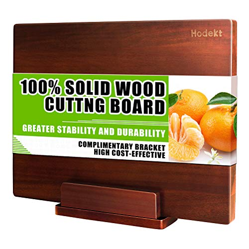 Wood Cutting Board with Stand Extra Large Wooden Chopping Boards Thick Acacia Bamboo Butcher Block BPA FREE Reversible Meat Vegetable Cheese Kitchen Board