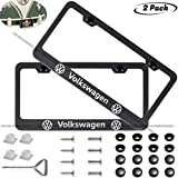 2-Pieces Newest Matte Aluminum Alloy License Plate Frame for Volkswagen VW,Applicable to US Standard car License Frame,FBA Fast Delivery(vw)…