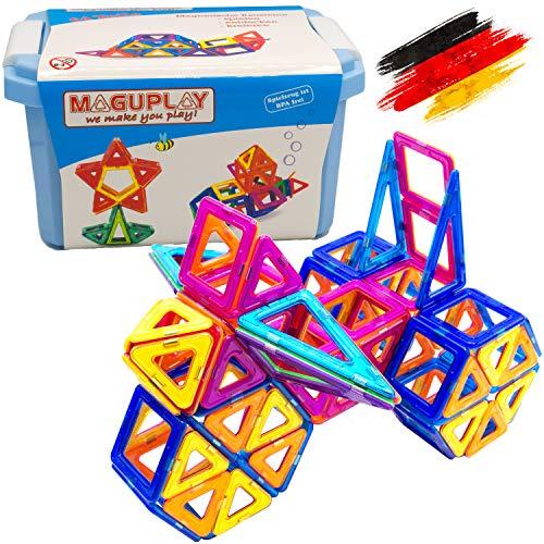 Maguplay 64 Teile XXL Magnetische Bausteine, Kinder ab 3 Jahre, Magnetspielzeug, Lernspielzeug