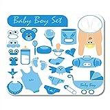 Almohadillas para mouse Baby Boy Gran colección Incluyendo la cara del cuerpo en una buena posición con un cochecito de pañales Chupete Sonajero Alfombrilla de ratón para portátiles, computadoras de e