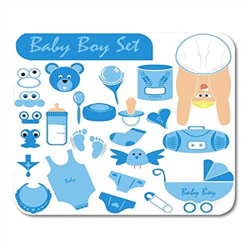 Mauspads Baby Boy Große Sammlung einschließlich Körper Gesicht in schöner Position Tragen Windel Kinderwagen Schnuller Rassel Mauspad für Notebooks, Desktop-Computer Büromaterial