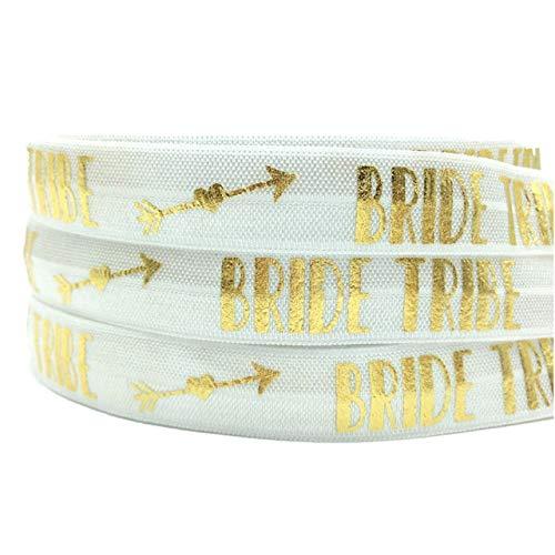 10Yards Gold Foil Bride Tribe Arrow Print Fold Over Elastic 5/8inch-Printed Elastic Ribbon-Elastic Bands for Sewing-FOE Trimming for Sewing-FOE Ribbons for Craft-FOE Ribbon Decoration Accessories