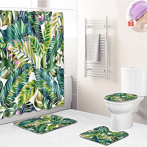 Enhome Badteppich Set 4teilig, Badezimmermatten Set mit Duschvorhang + rutschfeste U-Sockelteppich, Toilettenabdeung & Badematte 3D Pflanzel Muster (Dunkel hellgrün,S)