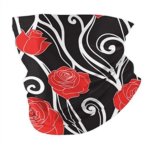 N/W Pasamontañas unisex con diseño de rosas y viñas en una oscuridad.