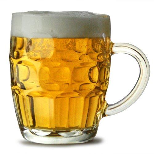 O pinta tradicional CE - 24 unidades | También conocido como jarra de cerveza con hendiduras, Britannia vaso de taza, jarra de cerveza, jarra de cerveza
