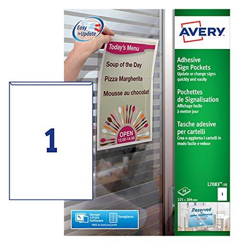 Avery L7083-10 Tasche Adesive in Plastica, 1 Cartello per Foglio, Non Stampabili, 10 Fogli, 221 x 304 mm