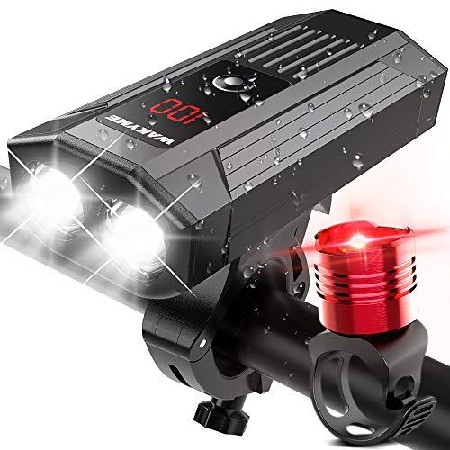 WAKYME Luces Bicicleta, Luz Bici Recargable USB de 5200mAh c