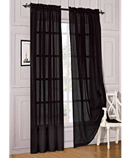 "WPM 2 Piece Beautiful Sheer Window Elegance Curtains/drape/panels/treatment 60""w X 84""l (Black)"