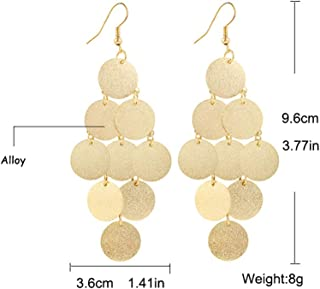 Lightweight Small Mini Brushed Disc Round Sequins Coin Tassel Dangle Earrings Minimalist Everyday Simple Jewellery Gift