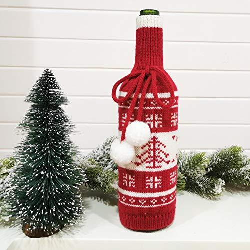 Bolsa de botella de vino de Navidad Vestir suéter de punto Santa Claus Champagne Cover Botella Wrap Decoración de mesa de restaurante Hotel cuerda de felpa Otoño Invierno 2020 2021 (C-Tree)
