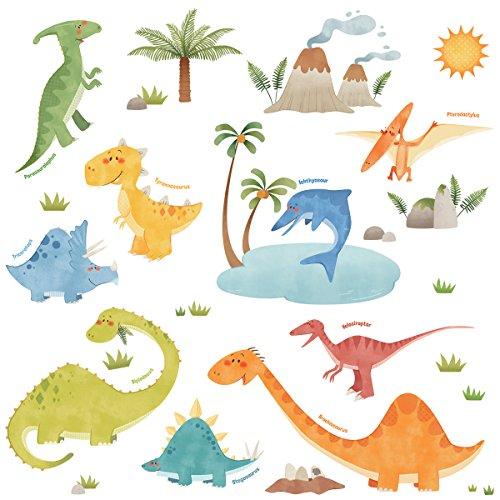 Decowall DW-1505 Dinosaurier Tiere Wandtattoo Wandsticker Wandaufkleber Wanddeko für Wohnzimmer Schlafzimmer Kinderzimmer