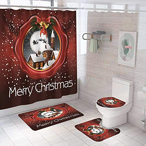 ZLWSSA Merry Christmas Bathroom Shower Curtain And Rug Sets Santa Claus Anti-Skid Rugs Toilet Cover Curtains With Hooks W180xH180cm