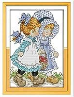 ribenshizixiu クロスステッチ キット 刺繍 手芸用品二人の女の子11CT 手芸 Cross Stitch 図柄印刷 初心者 刺繍糸 針 布 家の装飾 壁の装飾(42x52cm)