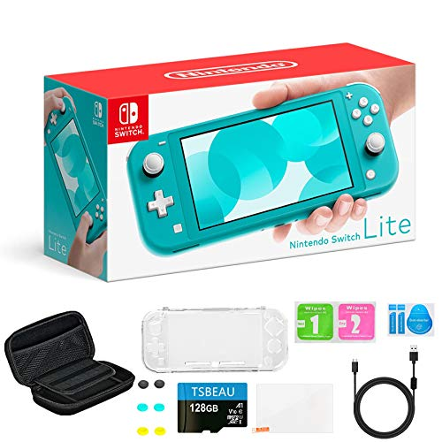 "Newest Nintendo Switch Lite Game Console, 5.5"" LCD Touchscreen Display, Built-in Plus Control Pad, Turquoise, Bundled with TSBEAU 128GB Micro SD Card & 8 in 1 Carrying Case Cover Protector Accessories"