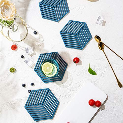 the teapot company Lavables Conjunto de 4 manteles, Rostro de Bebida Resistente al Calor Lavable, no resbaladizo, esteras de Mesa Hueca de Silicona para Cocina