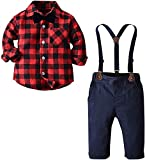 Baby Boy's Outfit, Long Sleeves Plaids Button Down Flannel Shirt with Bow Tie + Suspender Pants Set for Toddlers Baby & Little Boys; 2 Pieces Clothes, Red Black, 6M - 9M = Tag 70
