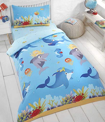 RAVALI Kids & Toddler Sea Life Dolphin Whale Reversible Duvet Quilt Cover Set Bedding (Single)