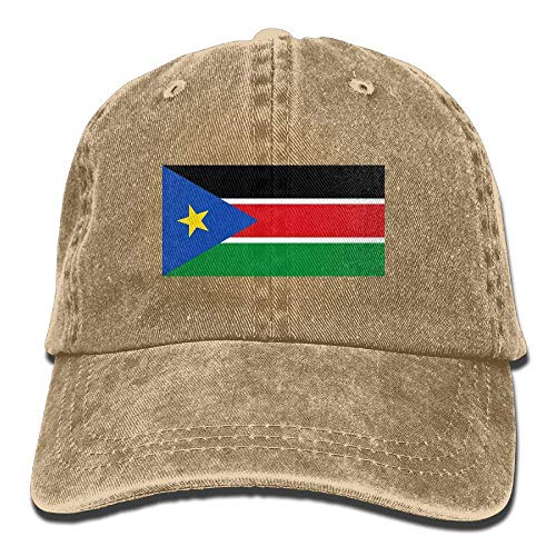 Ahdyr Gorra de béisbol Unisex Sombrero de Mezclilla Bandera de Sudán del Sur Gorra de Caza Ajustable Snapback-Natural