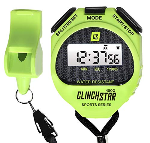 Stopwatch Digital Sports Timer and Whistle Set Waterproof for Swimming Marathon Running for Coaches and Referees