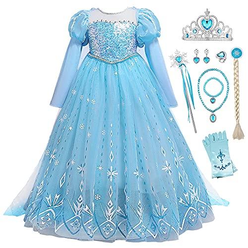 YOSICIL Disfraz Elsa Frozen Nia Traje Vestido Princesa Elsa Reina de Nieve Manga Larga Lentejuelas Cumpleaos Navidad Carnaval Halloween con Varita Corona Accesorios