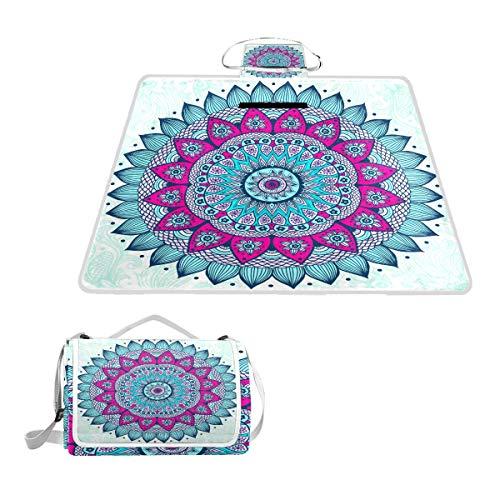TIZORAX Hippie Henna Mandala Picknickdecke Wasserdicht Outdoor Decke Faltbare Picknick Handliche Matte Tragetasche für Strand Camping Wandern