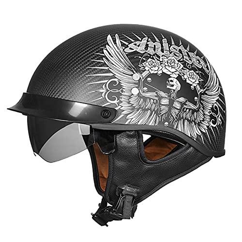 EBAYIN Casco Motocicleta Casco Medio Jet Casco Motocicleta Harley Retro Dot/ECE Certificado Cruiser Helicóptero Chopper Pilot Casco Fibra Carbono Seguridad Casco Anticolisión,H-L=(59~60cm)
