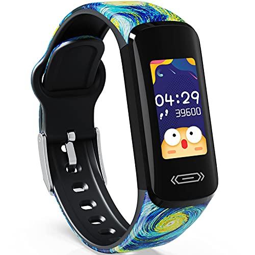CareUAll Pulsera Actividad Inteligente Reloj Inteligente para Niños Niñas, IP68 Impermeable Deportivo Smartwatch con Podómetro Pulsómetros Monitor de Sueño Contador de Caloría-Estrellado