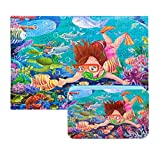 PROW Bright Color HD Wooden Jigsaw Puzzles 200 Piece Underwater World Educational Toys with Iron Storage Box Kids Traveling Games for Boys and Girls Gift