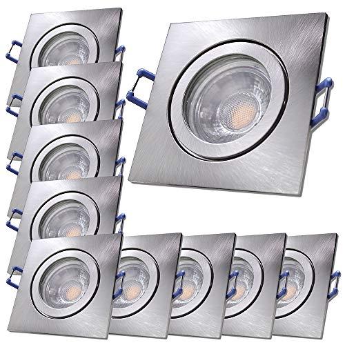 LED Bad Einbauleuchten 230V inkl. 10 x 7W LED LM Dimmbar Farbe Eisen geb. IP44 Deckenspots Neptun Eckig 3000K Warmweiß