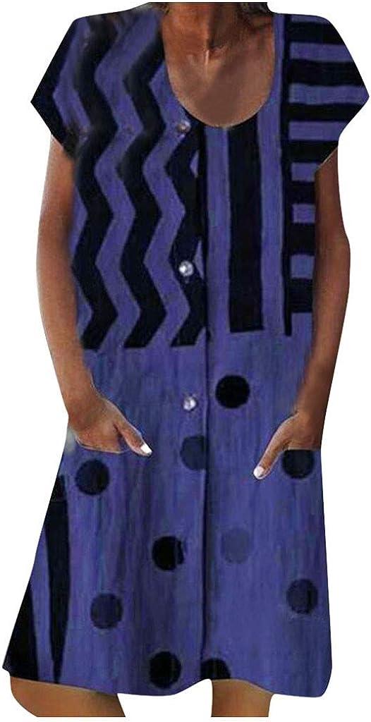 Dresses for Women Casual Summer Ethnic Style Print Short Mini Dress Loose Short Sleeve Shirt Dress Beach Sundress