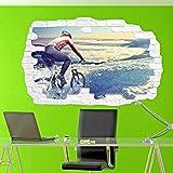 3D-Clouds Racing Bike Cyclist Etiqueta de la pared Smashed Art Poster Decal Mural - Decoración de la habitación -PegatinasDe Pared Calcomanía Decoración - 50x70cm
