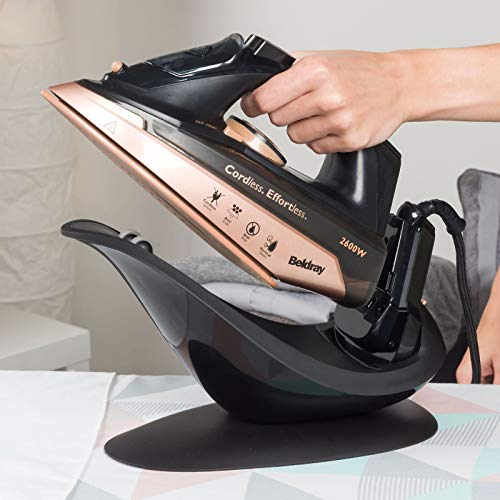 Beldray® BEL0747NRG 2 in 1 Cordless Steam Iron | 300 ml Water Tank | Self Cleaning | Anti-Drip & Anti-Calc Function | 2600 W | Rose Gold