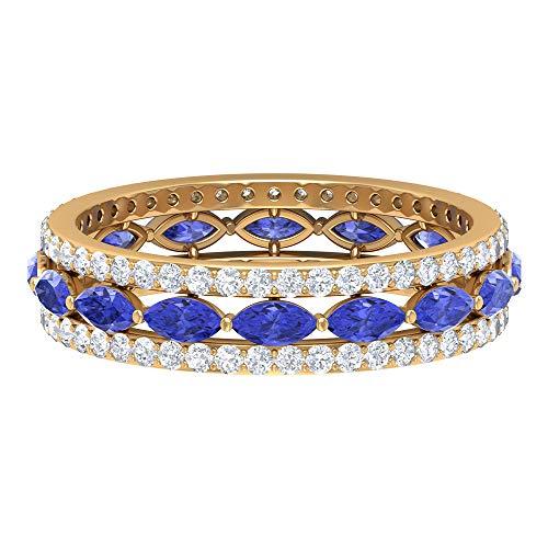 Rosec Jewels 14 quilates oro amarillo marquesa round-brilliant-shape H-I Blue Diamond Tanzanite