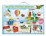 folia 930 - Bastelpapierkoffer Ganzjahr, 110 Teile - Kreativset für Kinder und Erwachsene mit Bastelpapier und Dekoelementen