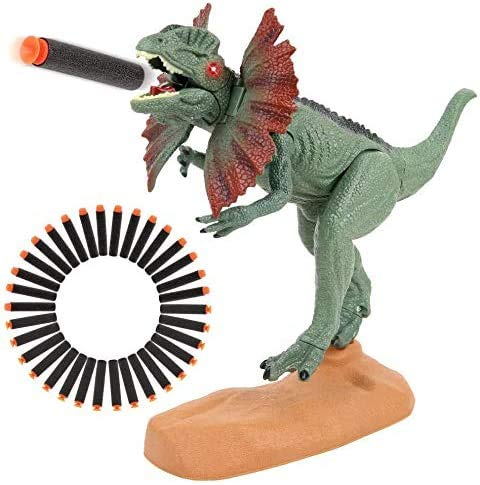 Dinosaur Toys Foam Dart Gun Dilophosaurus Realistic Model Assorted Dinosaur Figures with Roaring Sound and Lights Up Eyes Best Gift Toy for 3 4 5 6 7 Kids Boys And Girls (Dilophosaurus Version)