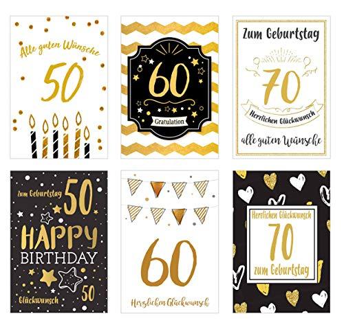Set 6 exklusive Geburtstagskarten mit feiner Goldprägung und Umschlag. Glückwunschkarte Geburtstagskarte Grusskarte 50 60 70